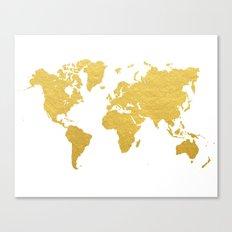 Gold World Map Canvas Print