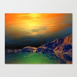 Sonnenuntergang über der Insel Canvas Print