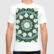 Sacramento Green and Cerulean Blue Mandala MEDIUM Mens Fitted Tee White