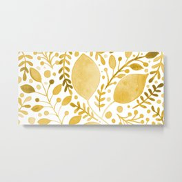 Branches and leaves - yellow Metal Print