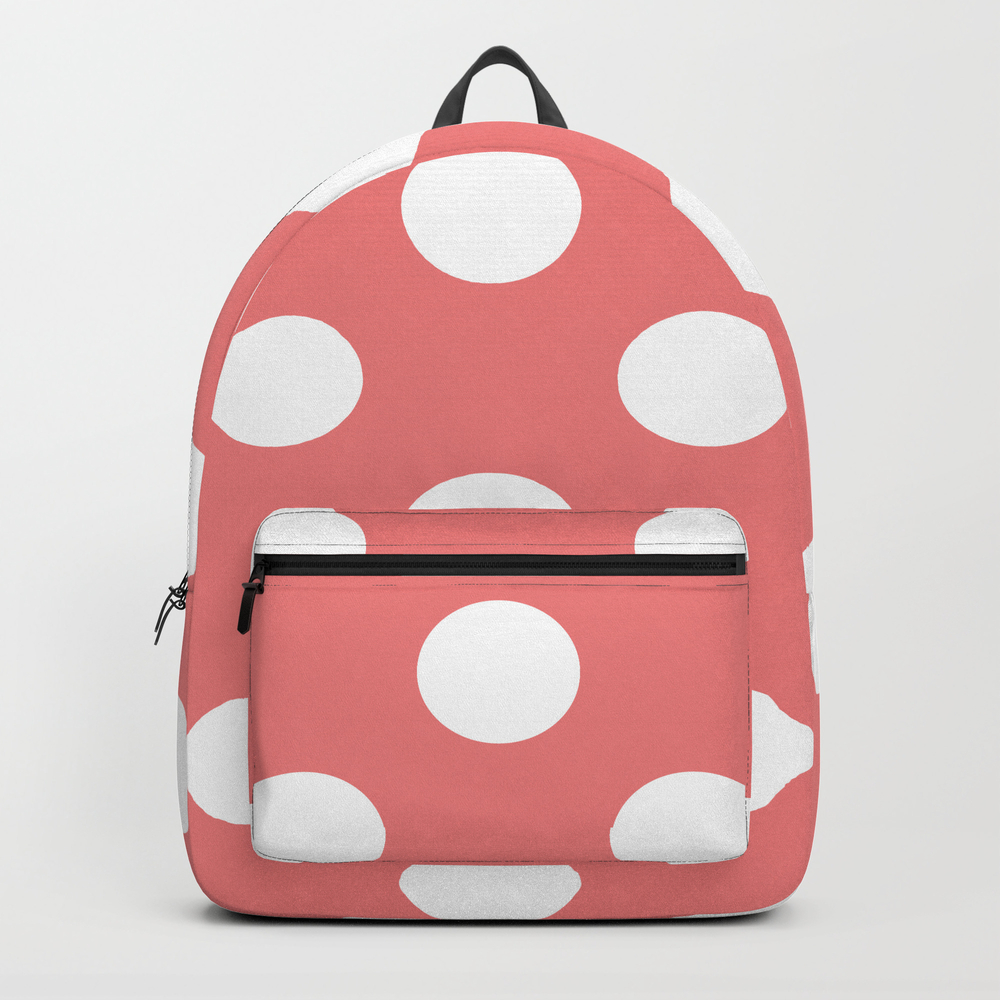 Large Polka Dots - White On Coral Pink Backpack by Polkadotsshop