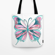 Pink and Blue Watercolor Butterfly Tote Bag