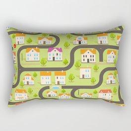 Vector Funny Maze Game. Map of Cartoon Small Town Rectangular Pillow