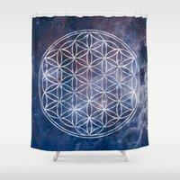 sacred geometry Shower Curtains featuring Sacred Geometry Universe 5 by Gaudy