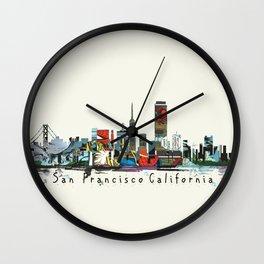 san francisco skyline comic Wall Clock