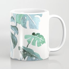 Delicate Monstera Blue And Green #society6 Coffee Mug