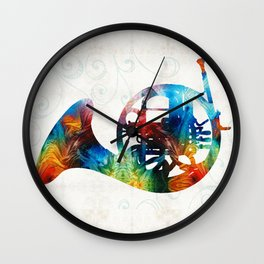 Colorful French Horn - Color Fusion By Sharon Cummings Wall Clock