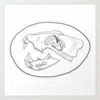 animal skull Art Prints featuring animal skull by Laila Bowman