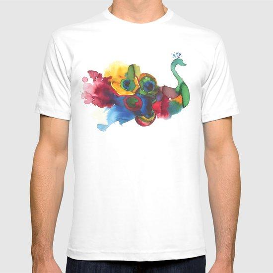 colorful peacocks T-shirt
