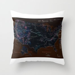National Parks Trail Map Dark Neon Throw Pillow