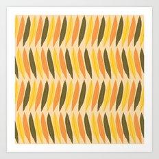 Leaves Falling on Beige Art Print