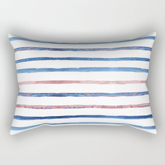 Watercolor pink and blue stripes Rectangular Pillow