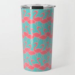 Flamingo Flamingle - coral pink on aqua Travel Mug