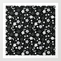 Black & White Floral Art Print