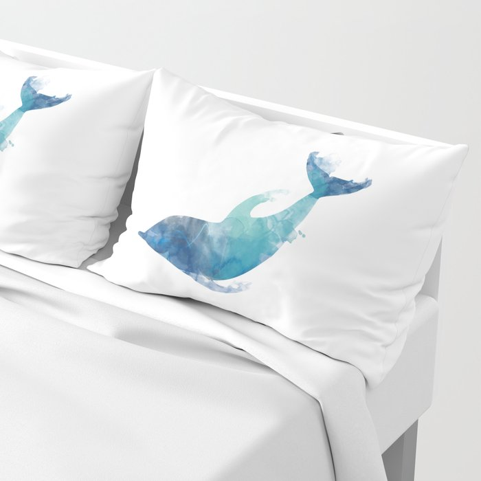 Watercolor playing Dolphin Pillow Sham