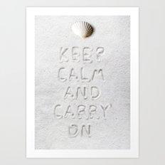 Keep Calm & Carry On, White Sand Art Print