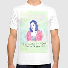 April Ludgate 2 SMALL White Mens Fitted Tee