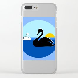 Black and White Swans on Blue Lake Clear iPhone Case