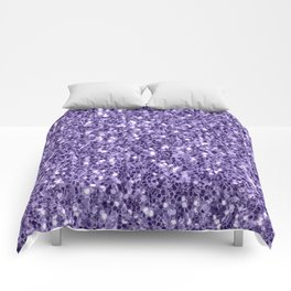 Ultra violet purple glitter sparkles Comforters