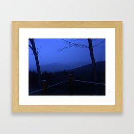 Mountain Laced in Fog Framed Art Print