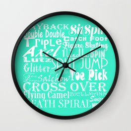 Mint Figure Skating Subway Style Typographic Design Wall Clock