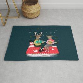 Reindeer Christmas Carols by Andrea Lauren  Rug