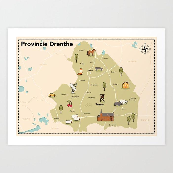 provincie drenthe kaart Geillustreerde kaart van de provincie Drenthe Art Print by
