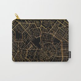 Black and gold Milan map, Italy Carry-All Pouch