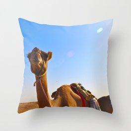 Camel Face Throw Pillow