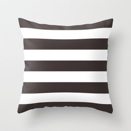 Black coffee - solid color - white stripes pattern Throw Pillow