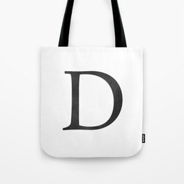 Letter D Initial Monogram Black and White Tote Bag