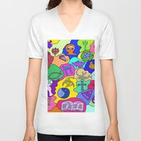 fantasy V-neck T-shirts featuring Fantasy by Linda Tomei