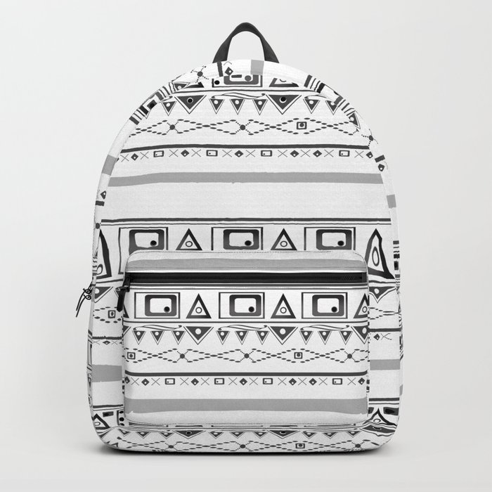Black with gray and white pattern . Backpack