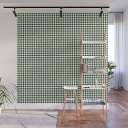 Dark Forest Green and White Hounds Tooth Check Pattern Wall Mural