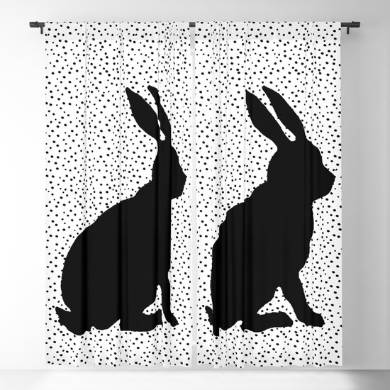 Black Silhouette Sitting Bunny Rabbit Polka Dots on White by artbymar