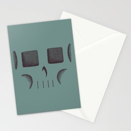 Skull Linework (Black / Teal) Stationery Cards