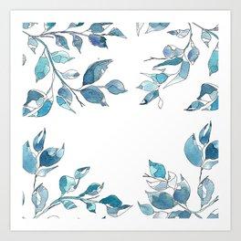Blue leaves1 by GosiandHelena Art Print