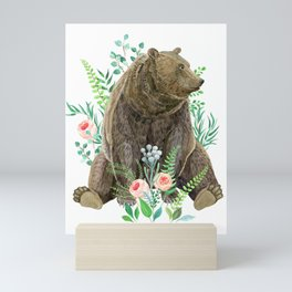 bear sitting in the forest Mini Art Print