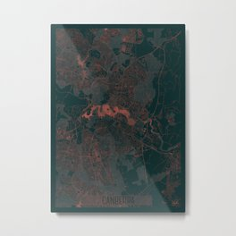 Canberra Map Red Metal Print