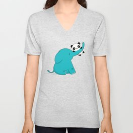 Kawaii Cute Panda and Elephant Unisex V-Neck