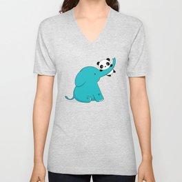 Kawaii Cute Panda and Elephant Unisex V-Neck
