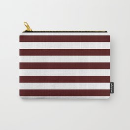 Narrow Horizontal Stripes - White and Bulgarian Rose Red Carry-All Pouch