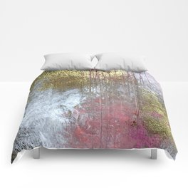Golden Girl: a pretty abstract mixed media piece in pink, white, gold, and gray Comforters