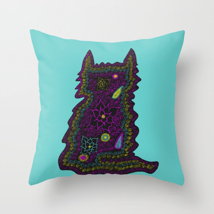 Black Cat With Roses Throw Pillow