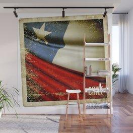 Chile grunge sticker flag Wall Mural