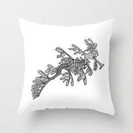 Leafy Seadragon animal ink art - detailed animal design Throw Pillow