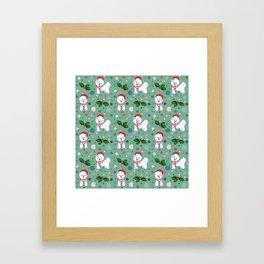Bichon Frise dog Christmas pattern Framed Art Print