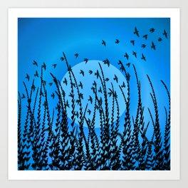 Sky, Sun & Birds (cool blue) Art Print