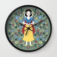 snow white Wall Clocks featuring Snow White  by Carly Watts