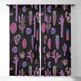 Cactus Pattern On Chalkboard Blackout Curtain